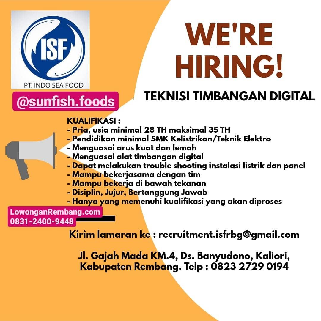SEGERA Lamar Lowongan Kerja Teknisi Timbangan Digital PT Indo Sea Food Banyudono Kaliori