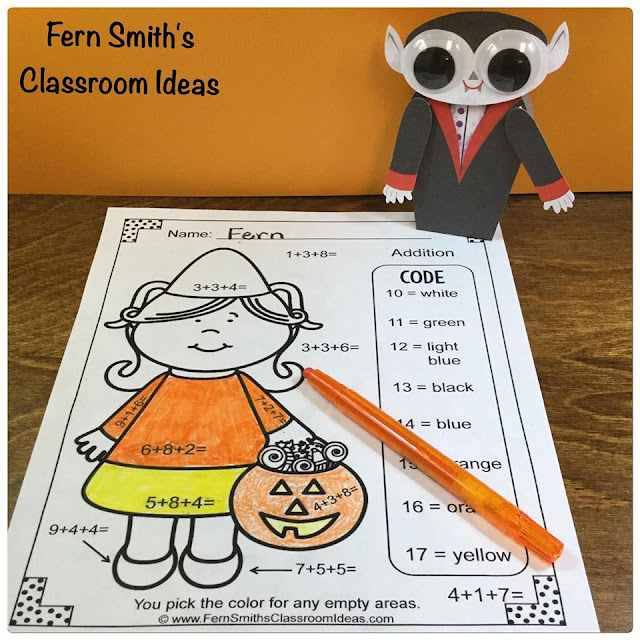 Fern Smith's Classroom Ideas - Fern's Freebie Friday ~ Color By Numbers Halloween Addition With Three Addends Available for Free at TeachersPayTeachers.