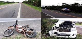 Casal e filho em moto morrem