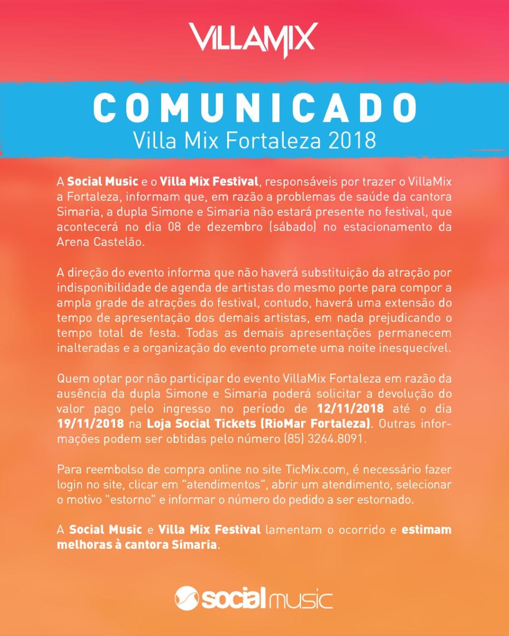 1e0d8dee444 Dupla Simone e Simaria cancela apresentação no Villa Mix Fortaleza 2018