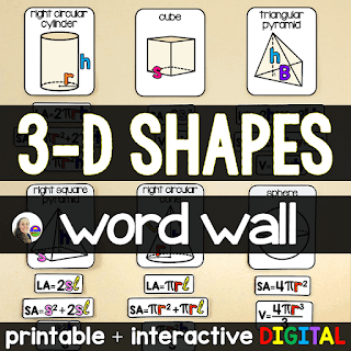 FREE Math Word Wall - Volume and Surface Area of 3-D Shapes - print and digital
