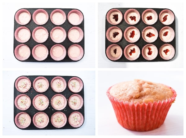 Photos showing the muffin cases half filled with batter, topped with a small dollop of jam, then more batter, then a baked cupcake