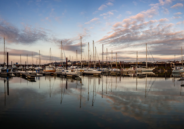 Photo of flat calm conditions at Maryport Marina on the second day of the partial lockdown