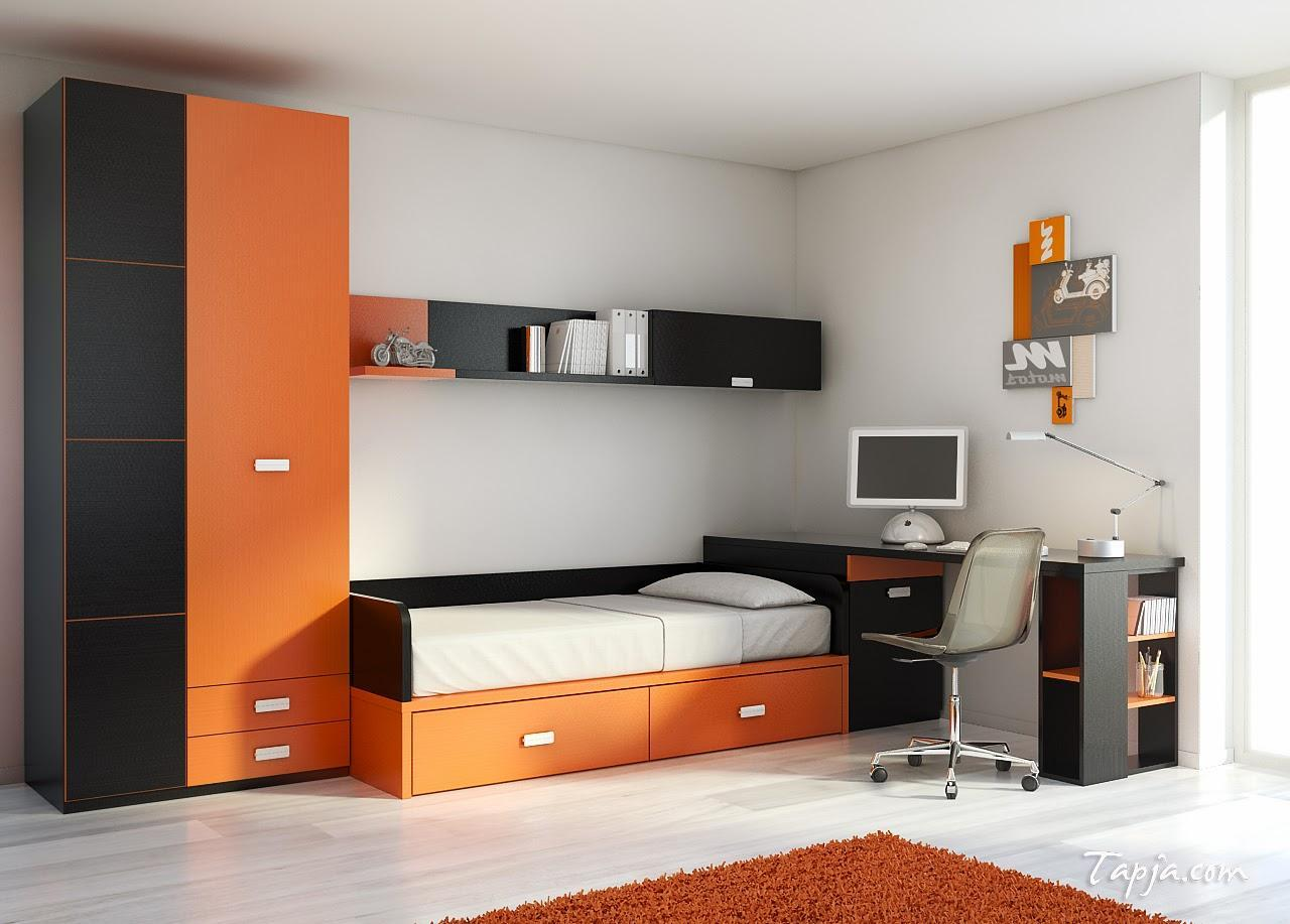Black and orange bedroom - The Cool Modern Ideas In Childrens Bedroom Design