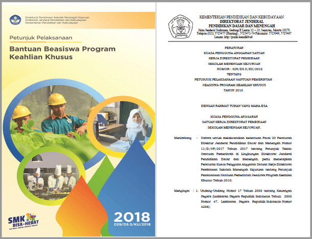 Juklak Bantuan Beasiswa Program Keahlian Khusus SMK Tahun 2018
