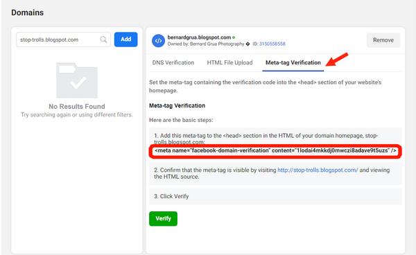 """Déclarez votre site web à votre page Facebook Business.  Allez sur Business setting  Sélectionnez """"Brand Safety"""". Allez copier la """"Metag-tag"""" fourni par Facebook (troisième onglet)"""