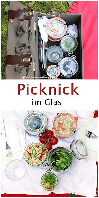Picknick im Glas mit Reissalat und Tiramisu