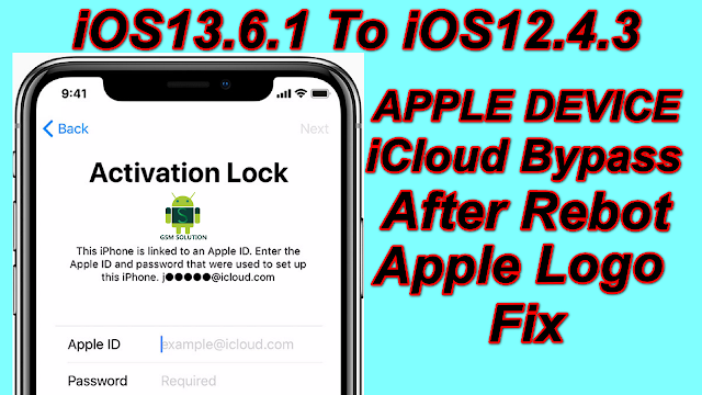 Windows Apple Device iOS13.6.1 to 12.4.3 (Iphone X to 5S) iCloud Bypass And After Rebot Logo fix.