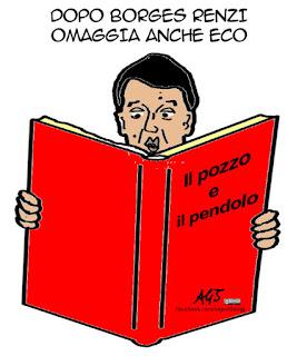 Umberto Eco, Renzi, vignetta satira