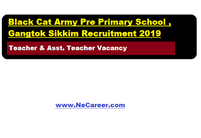 Black Cat Army Pre Primary School , Gangtok Jobs 2019 (August) | Teaching Vacancy