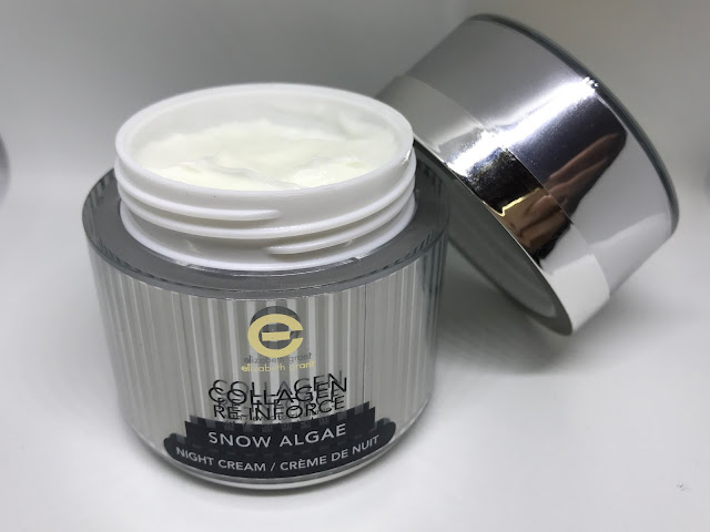 Collagen Re-Inforce Snow Algae Night Cream pot open with the lid next to it