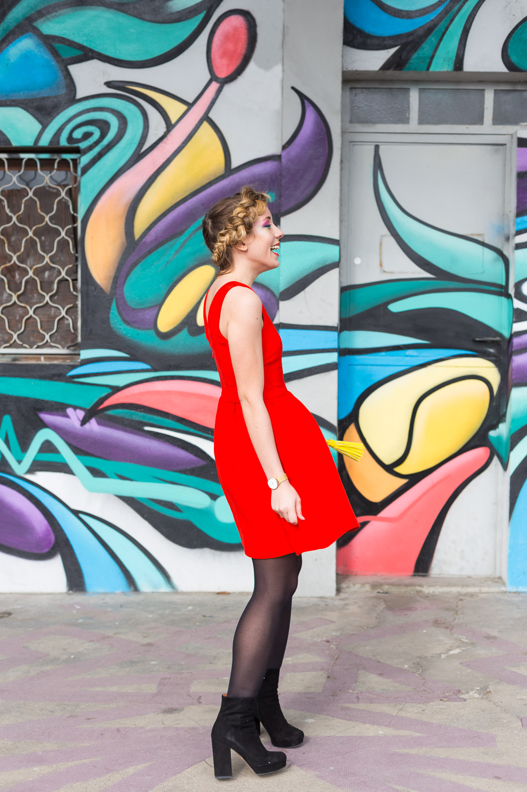 Robe rouge patineuse blog mode