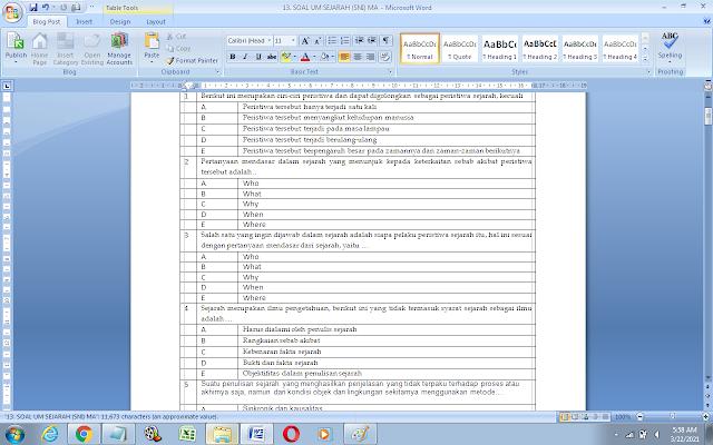 Contoh Soal Ujian Madrasah (UM) Sejarah (SNI) MA