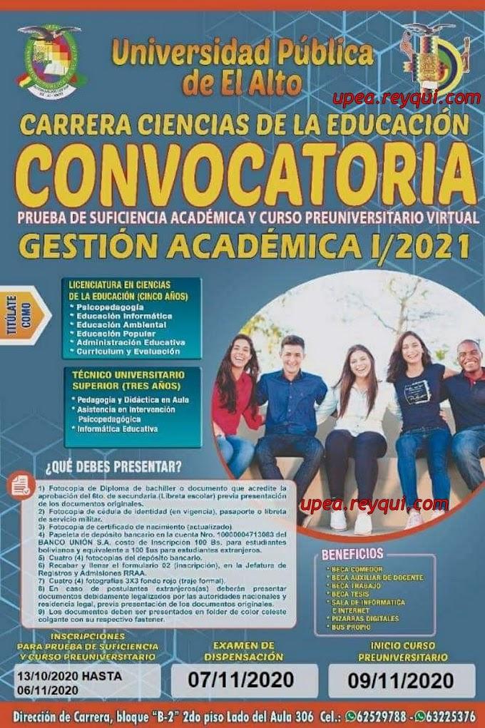 Ciencias de la Educación UPEA I/2021: Convocatoria a la Prueba de Suficiencia Académica y Curso Preuniversitario