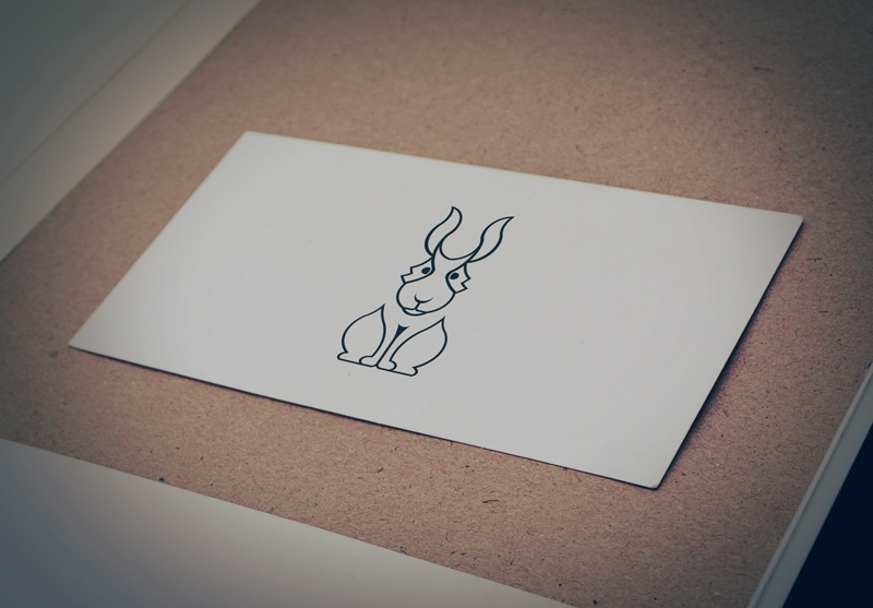 Download Free Sitting Rabbits outline Logo for Business
