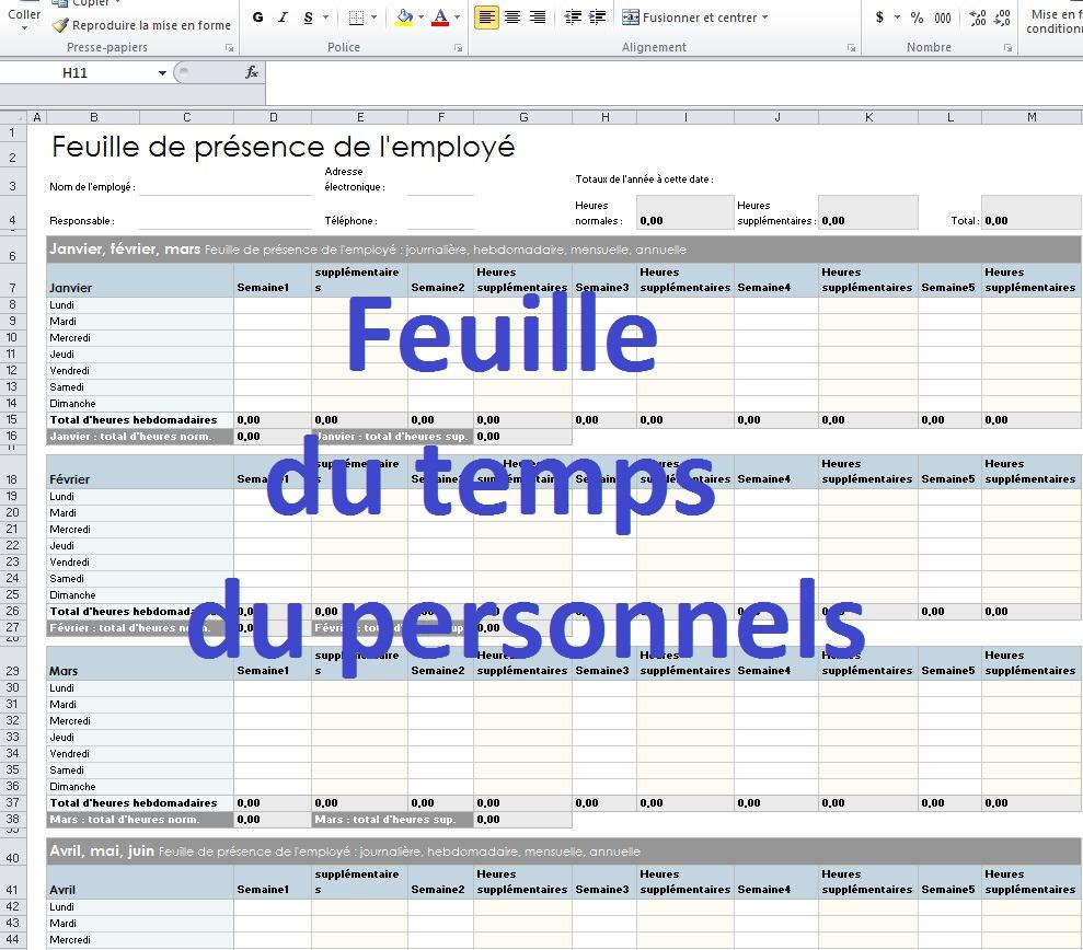 Calcul Salaire Net Quebec >> Modèle de fiche de présence du personnel en excel   Cours ...