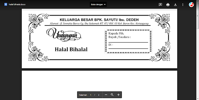 Gratis Undangan Halal Bihalal Siap Edit dan Download Ms.Word