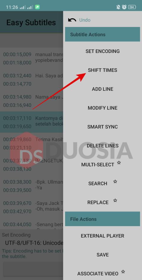cara menyesuaikan timing subtitle android