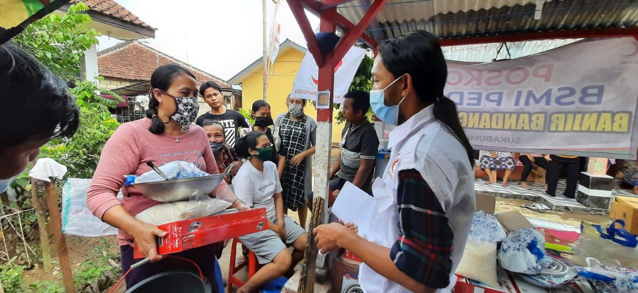 BSMI Dirikan Posko Kesehatan dan Bantuan Peralatan Dapur Banjir Bandang Sukabumi