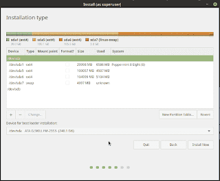 Manage harddisk partitions on the way of linuxmint19 installation