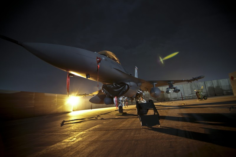 usaf f16 ready to takeoff at night global military review