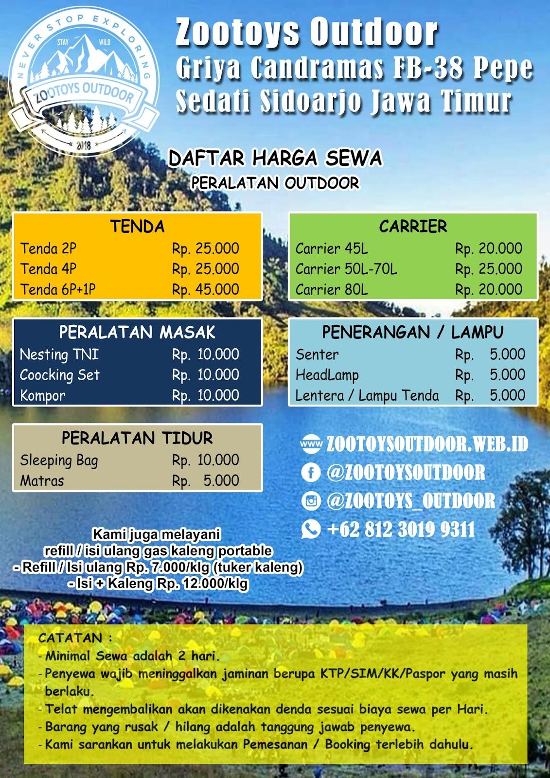 Daftar Harga Zootoys Outdoor Rental Alat Outdoor Hiking Sidoarjo Surabaya Sewa Alat Camping Tenda Dome