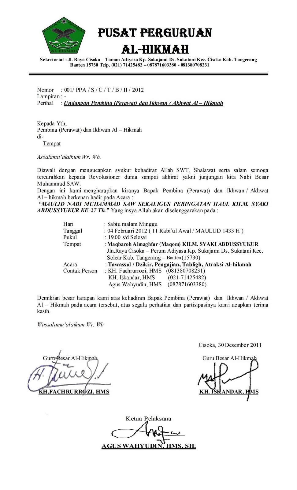 Contoh Surat Resmi Maulid Nabi Bahasa Sunda - Marhaban Ya