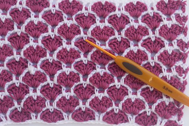 1 - Crochet Imagen Puntada a crochet de corazones y abanicos por Majovel Crochet