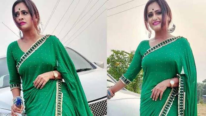 Odia Jatra Actress Rani panda looks divine in green saree