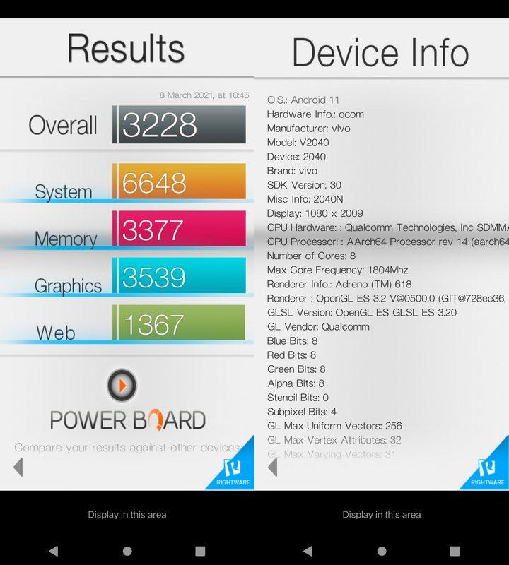 Benchmark Basemark OS II Vivo V20 2021