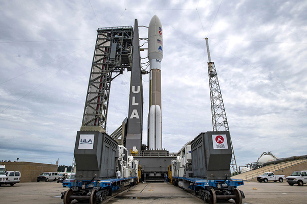 The Atlas V rocket carrying the Mars 2020 spacecraft arrives at the SLC-41 pad in Cape Canaveral Air Force Station, Florida...on July 28, 2020.