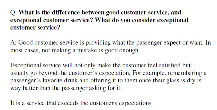 Journey Through Life More Cabin Crew Interview Q / A samples - customer service interview questions