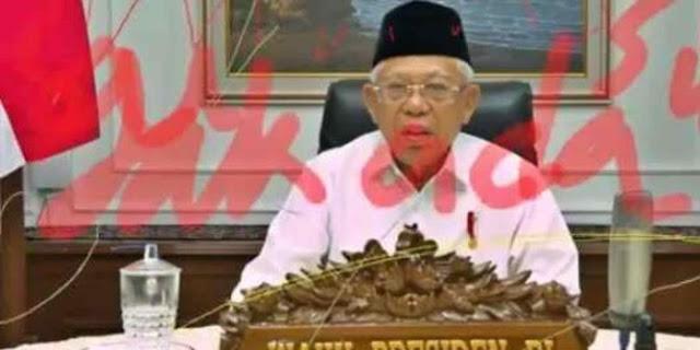 Wajah Wapres Ma'ruf Dicoreng Tinta Merah saat Webinar, Istana Minta Polisi Segera Usut Pelakunya