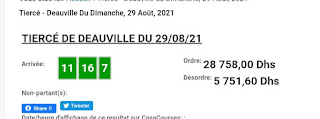 Arrivée DE AGEN DU 29/08/2021 Tiercé et Quinté QUARTE