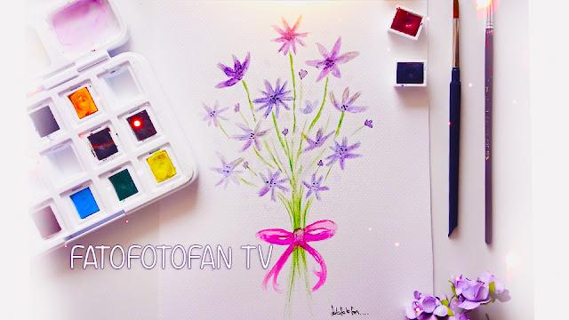 suluboya çiçek çizimi