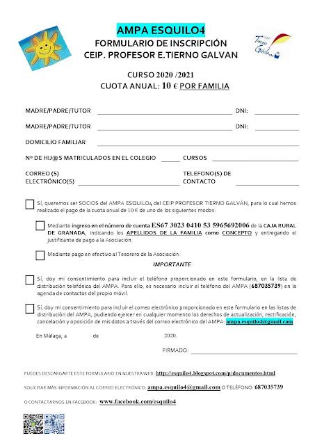 Formulario de inscripción AMPA Esquilo 4
