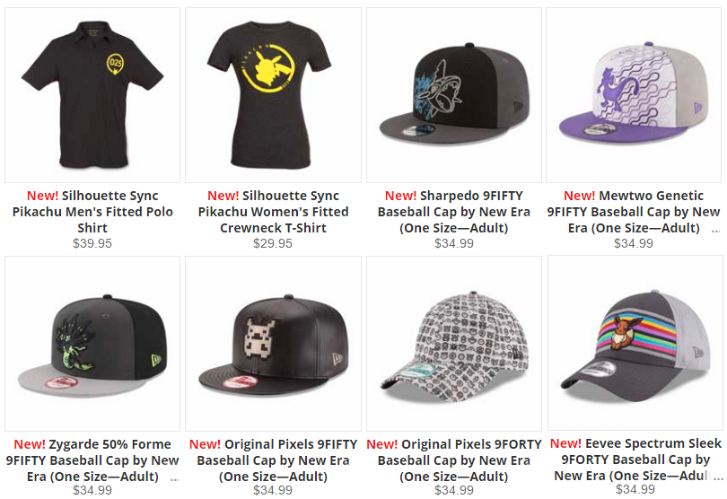 168de94e5 The Pokemon Center has some new hats in stock this week! They also added  two silhouette Pikachu shirts.