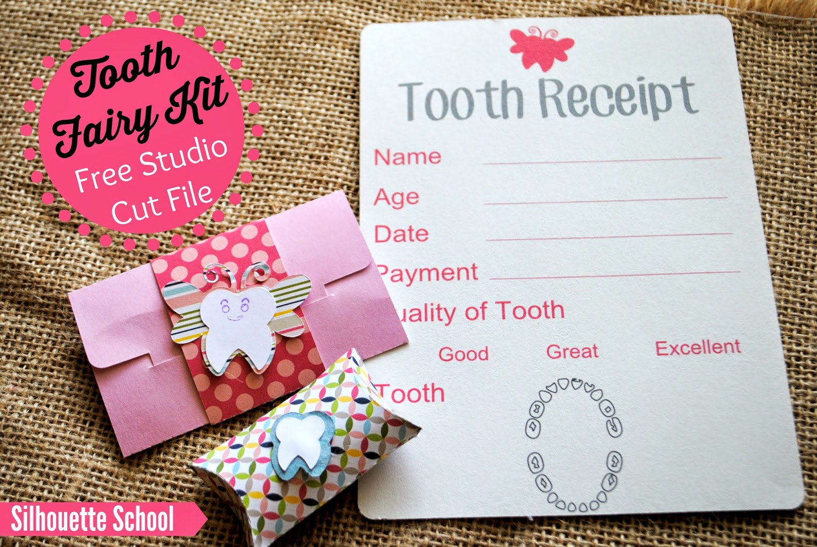Tooth fairy kit, DIY, do it yourself, free, Silhouette Studio cut file