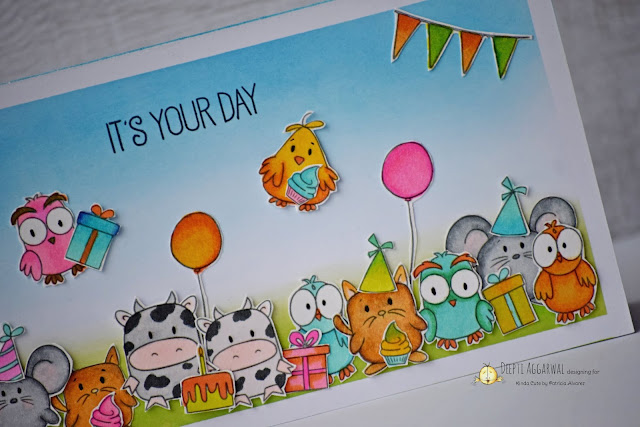 Cute animals birthday party greeting card
