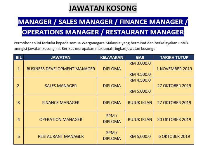 [Permohonan Terbuka] Jawatan Kosong Manager ( Sales / Finance / Operation / Restaurant ) Ambilan Oktober 2019