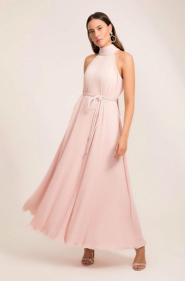vestido longo rose simples para madrinha de casamento pequeno