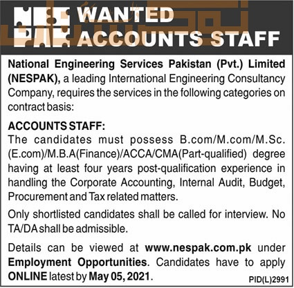 private,national engineering services pakistan nespak lahore,accounts staff,latest jobs,last date,requirements,application form,how to apply, jobs 2021,