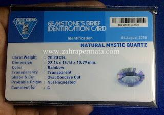Batu Permata Mystic Quartz + Memo - ZP 586
