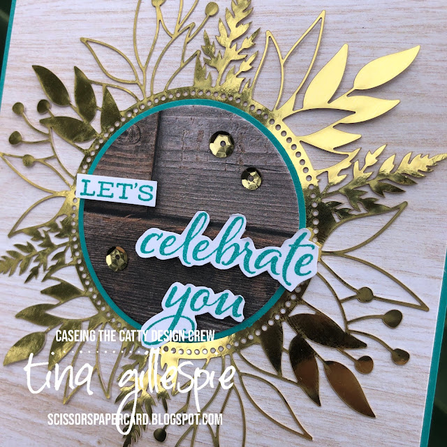 scissorspapercard, Stampin' Up!, CASEing The Catty, Celebrate Sunflowers Bundle, Forever Gold Laser Cut Specilaty Paper, In Good Taste DSP