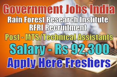 Rain Forest Research Institute Recruitment 2019