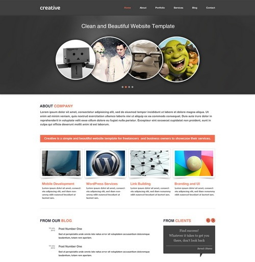 Free Creative Portfolio & Business Website PSD Template