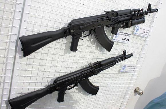 AK 103 dengan peuncur granat GP-4 dan AK-104