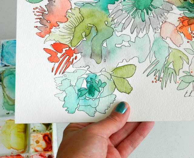 Wild Jungle Watercolor Flowers- watercolor and ink illustration