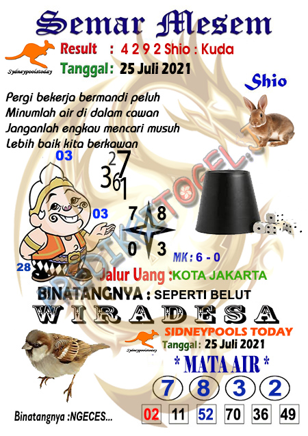Syair Semar Mesem SDY Minggu 25 Juli 2021