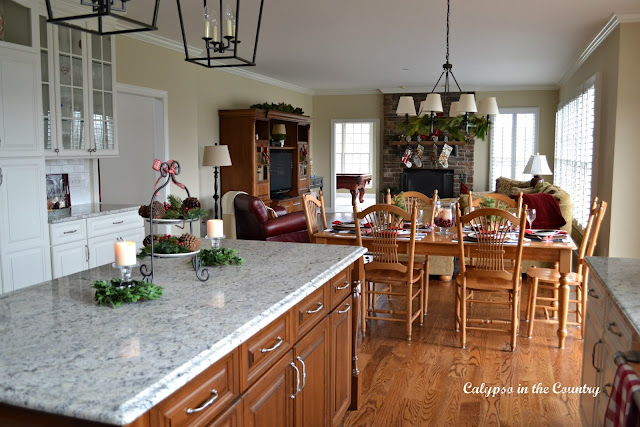 Open Concept Kitchen Family Room at Christmas
